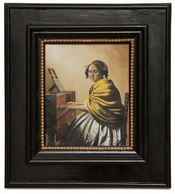 A young woman seated at the virginals - Giovane donna seduta alla spinetta - cm 26x22