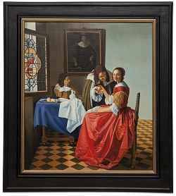 The girl with a glass of wine - Fanciulla con due cavalieri - cm 69x79