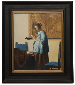 Woman in blue reading a letter - Donna in azzurro che legge - cm 48x40