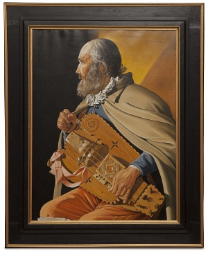The hurdy gurdy player - Suonatore di ghironda - cm 84x64