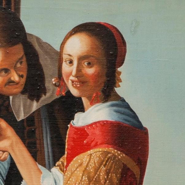 The girl with a glass of wine - Fanciulla con due cavalieri - cm 69x79