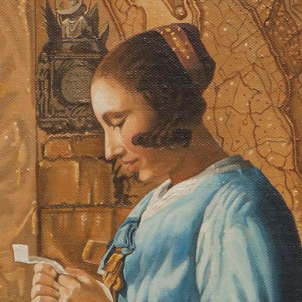 Woman in blue reading a letter - Donna in azzurro che legge - cm 48x40