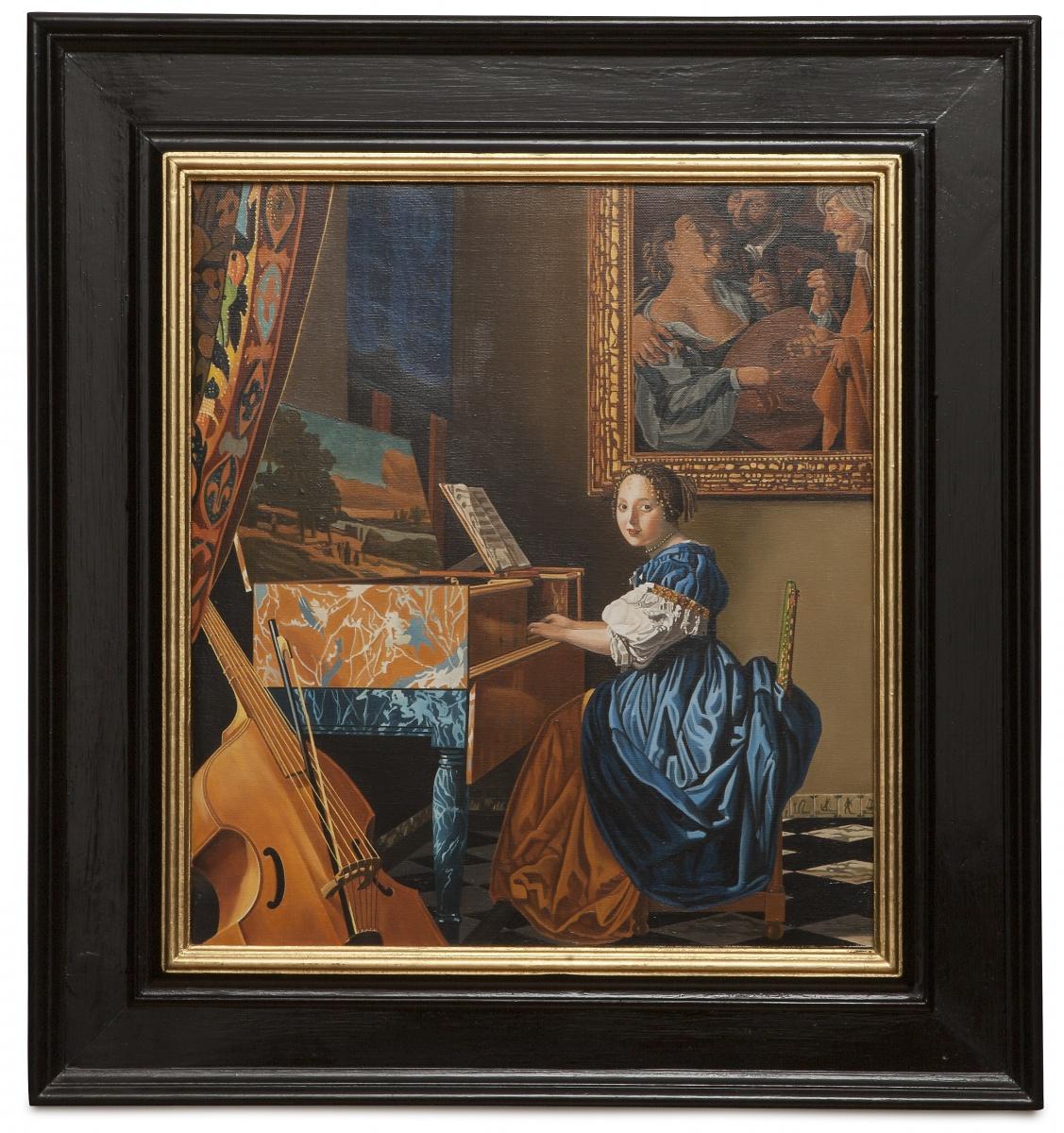 A lady seated at a virginal - Dama seduta alla spinetta - cm 52x46