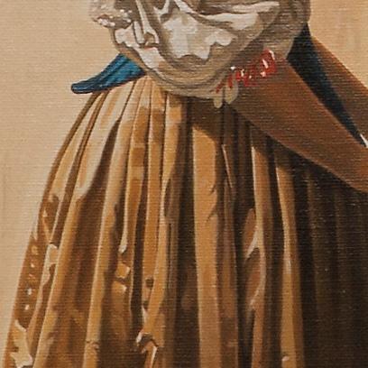 A lady standing at a virginal - Dama in piedi alla spinetta - cm 52x46