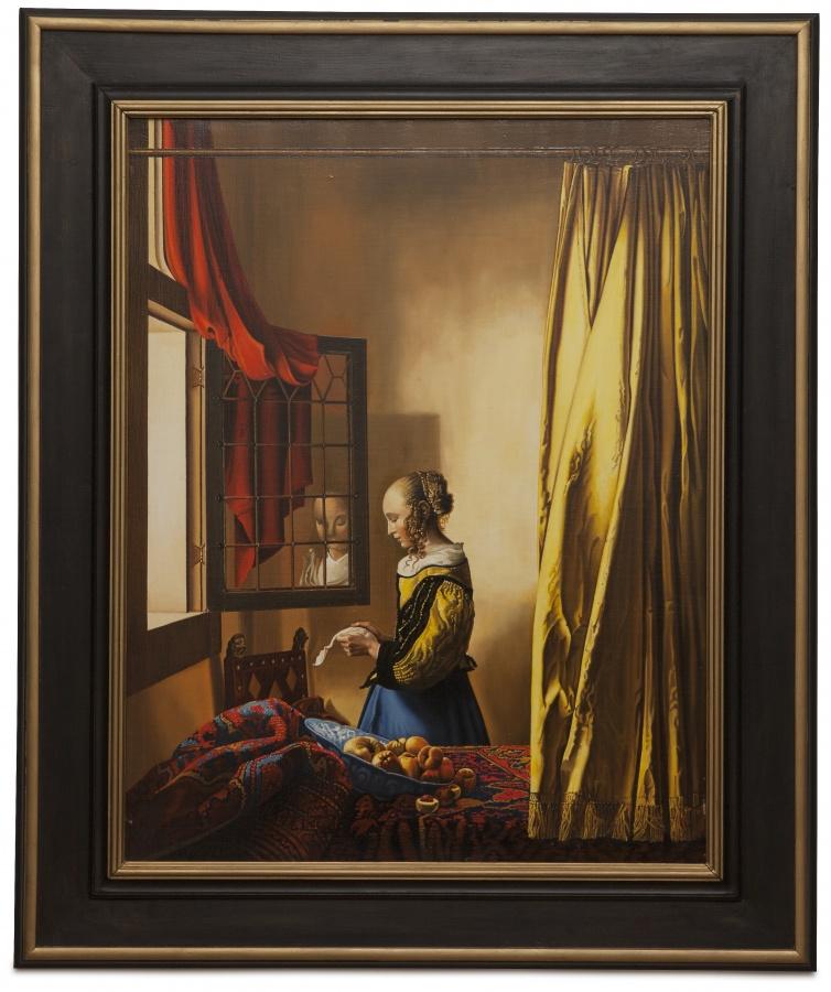 A girl reading a letter by an open window - Lettura della lettera - cm 85x65