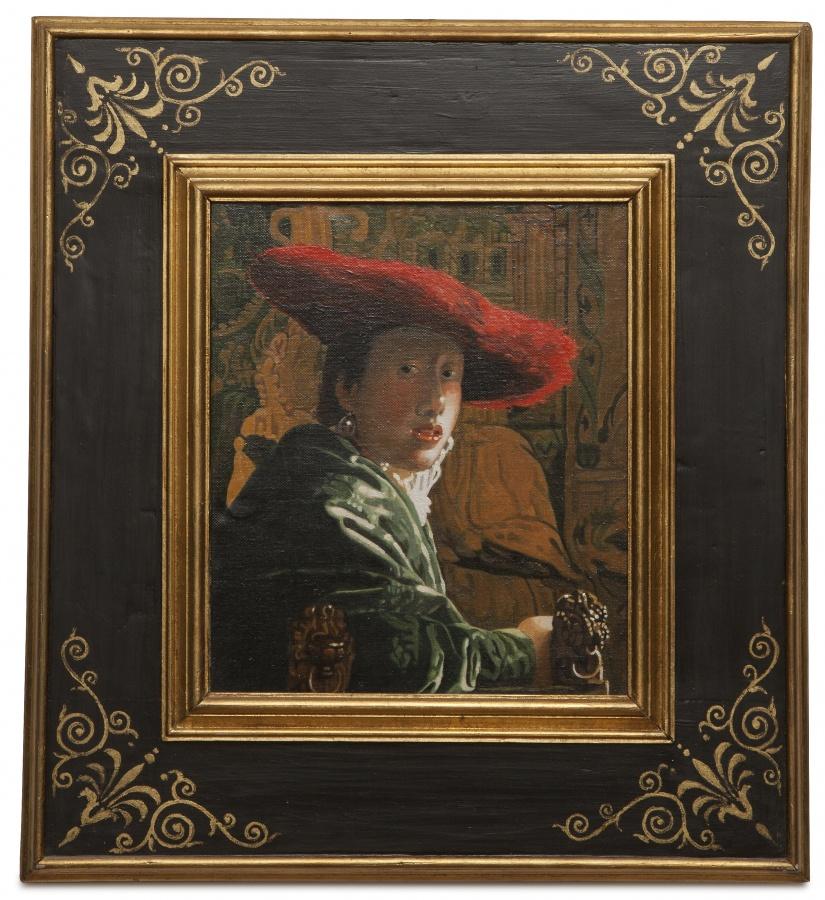 Girl with a red hat - Ragazza con cappello rosso - cm 26x22