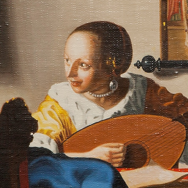 Woman with a lute - Suonatrice di liuto - cm 53x47