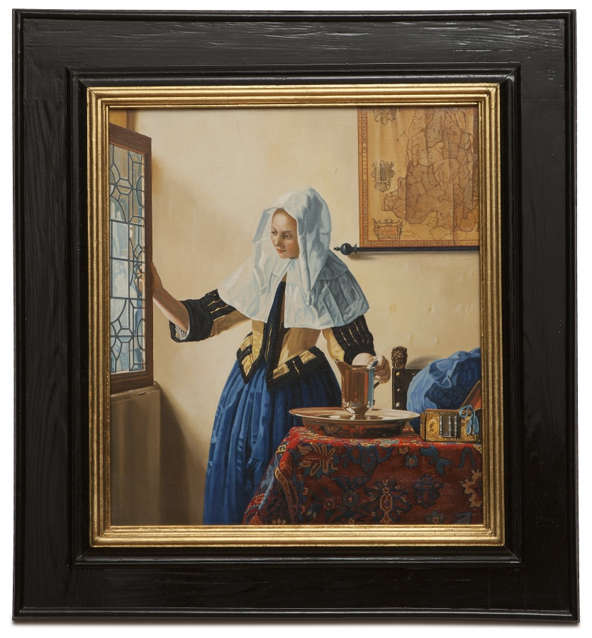 Young woman with a water pitcher - Donna alla finestra con brocca - cm 47x41