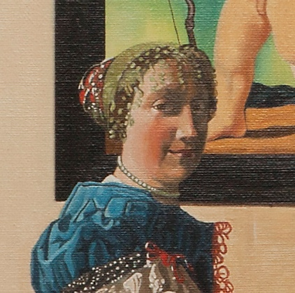 A lady standing at a virginal - Dama in piedi alla spinetta - cm 52x46