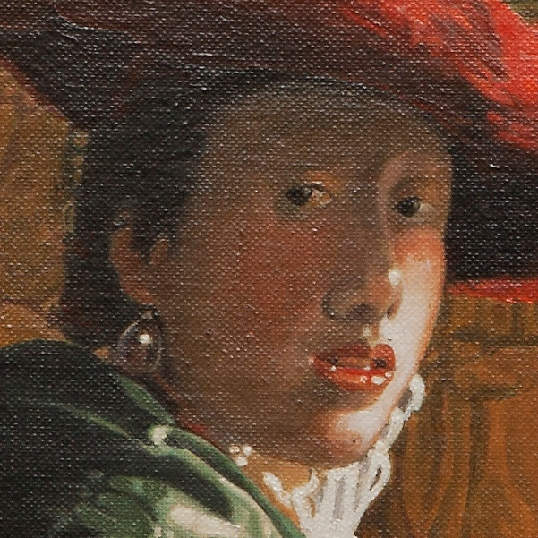 Girl with a red hat - Ragazza con cappello rosso - cm 26x22
