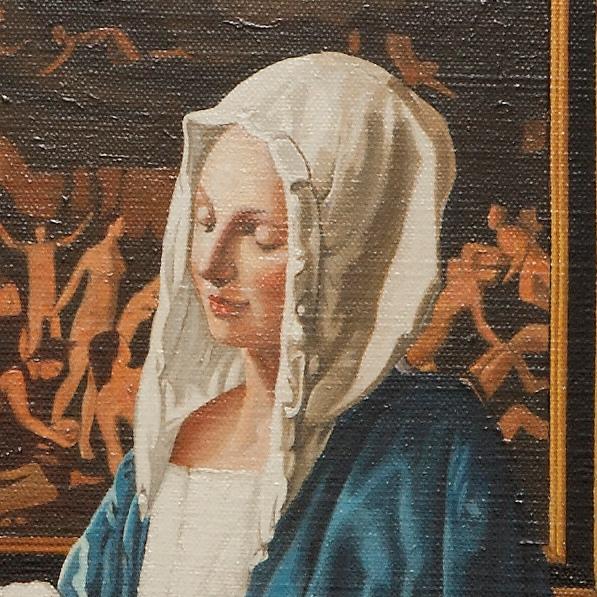 Woman holding a balance - La pesatrice di perle - cm 45x41